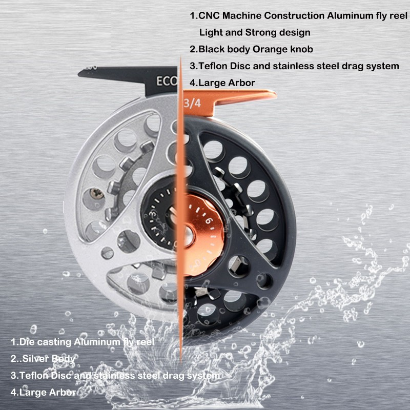 ECO CNC Black Large Arbor Fly Reel